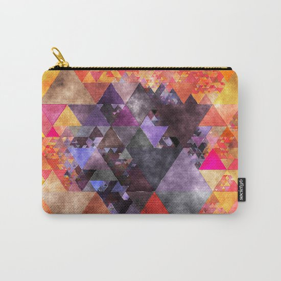 Abstract fire red yellow blue Triangle pattern- Watercolor Illustration Carry-All Pouch