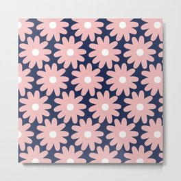 Crayon Flowers Smudgy Pastel Floral Pattern 2 in Pink and White on Navy Blue Metal Print