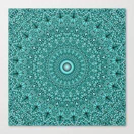 Turquoise Geometric Floral Mandala Canvas Print