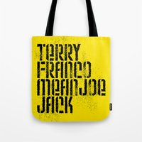 steelers Tote Bags featuring Terry Franco Mean Joe Jack / Gold by Brian Walker