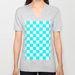 Checkered - White and Aqua Cyan Unisex V-Neck