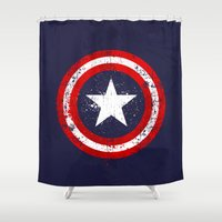 engineer Shower Curtains featuring Captain's America splash by Sitchko