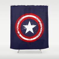 bucky Shower Curtains featuring Captain's America splash by Sitchko Igor