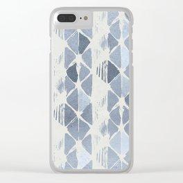 Simply Braided Chevron Indigo Blue on Lunar Gray Clear iPhone Case