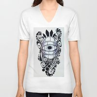 evil eye V-neck T-shirts featuring Evil Eye by King Catastropa