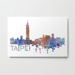 Taipei Art, Taipei Skyline, Taipei map, Taipei skyline, Taipei map print Metal Print