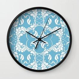 Blue Leaf Lace Wall Clock