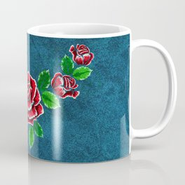 Red embroidered rose Coffee Mug