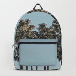 California Beach Vibes // Tropical Palm Trees Dusty Blue Sky Travel Photograph Backpack