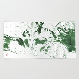 Rabbits in the woods - green Beach Towel