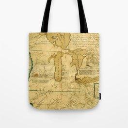 Map Of Great Lakes 1785 Tote Bag