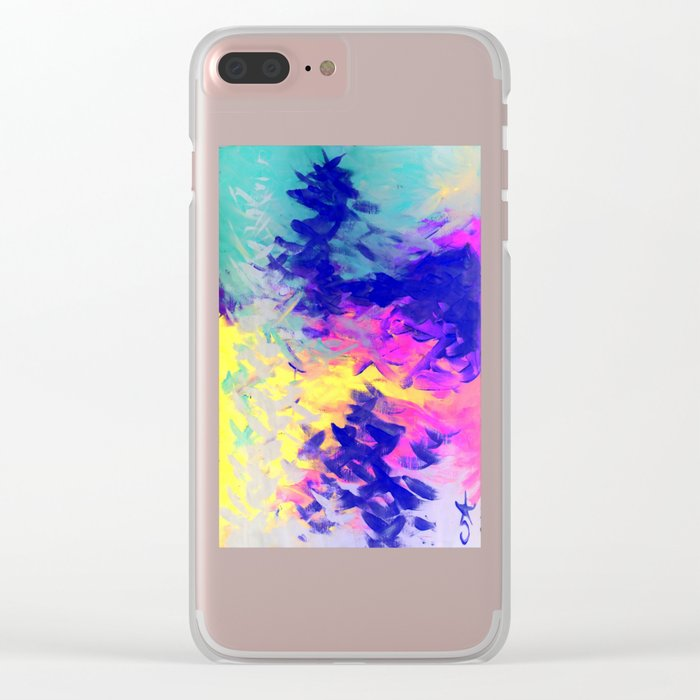 Neon Mimosa Inspired Painting Clear iPhone Case