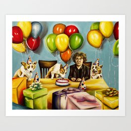 Happy Birthday Bernard Black Art Print