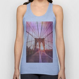 New York City Brooklyn Bridge Sunset Unisex Tank Top
