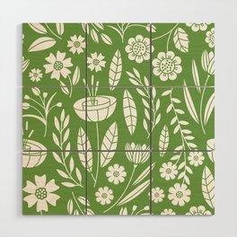 Blooming Field - green Wood Wall Art