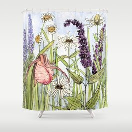 Lady Slipper Orchid Woodland Wildflower Watercolor Shower Curtain