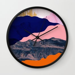 Graphic volcanic mountains Wall Clock