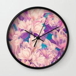 flowers magnolia #flowers #flora #pattern Wall Clock
