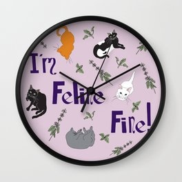 Kitty Cats and Catnip Illustrated Typography Print in Lavender Purple Wall Clock