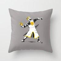 banksy Throw Pillows featuring Banksy Python 1-2-5 by kgullholmen