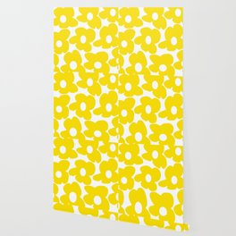 Large Yellow Retro Flowers on White Background #decor #society6 #buyart Wallpaper