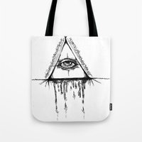 all seeing eye Tote Bags featuring All Seeing Eye  by Emalee Røse