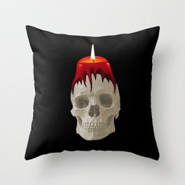 Halloween Skull with candle  black background Throw Pillow