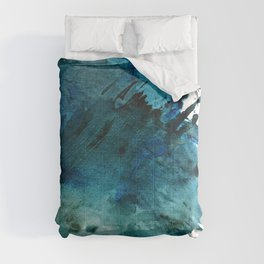Scenic Route [2]: a pretty, minimal abstract piece in blue and green by Alyssa Hamilton Art Comforters