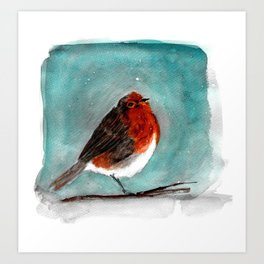 Winter watercolor bird Art Print