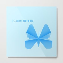 Blue Butterfly Aunty - Origami Blue Butterfly Metal Print