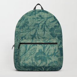 art Nouveau,teal,William Morris style, floral,chic,elegant,modern,trending,victorian decor,floral pa Backpack
