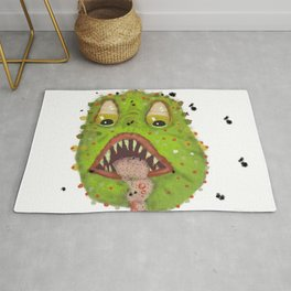 green monster with flies comic horror Rug