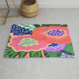 Blooming Abstract Digital Floral Painting Rug