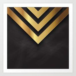 Back and gold geometric design Art Print