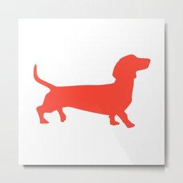 Red dachshund wall art print Metal Print