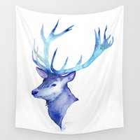 antlers Wall Tapestries featuring Blue Antlers by Jackie Sullivan