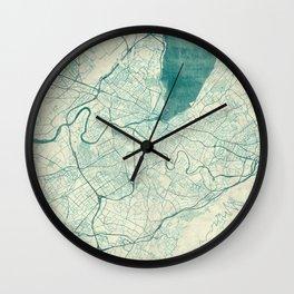 Geneva Map Blue Vintage Wall Clock