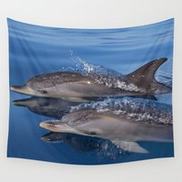 dolphins Wall Tapestries featuring Dolphins by Chloe Yzoard
