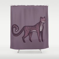 cheetah Shower Curtains featuring Cheetah by adorkablyfeline