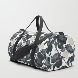 Hand drawn bohemian black and white roses glitter pattern Duffle Bag
