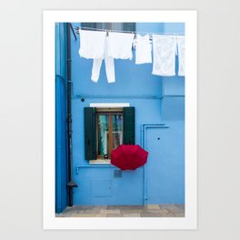 Burano, Italy Laundry Day Art Print