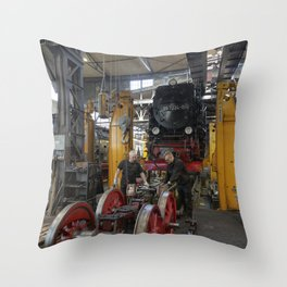 Disassembled steam locomotive Throw Pillow