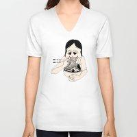 ramen V-neck T-shirts featuring I Heart Ramen by Amy Consolo