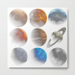 Nine planets universe space Science Fiction Day - blue planet Metal Print