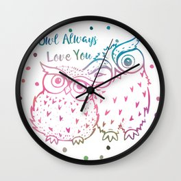 Owl Always Love You - Pink and Blue Wall Clock