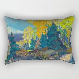 Canadian Landscape Franklin Carmichael Art Nouveau Post-Impressionism Autumn Hillside Rectangular Pillow