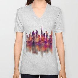 Dubai United Arab Emirates Skyline Unisex V-Neck