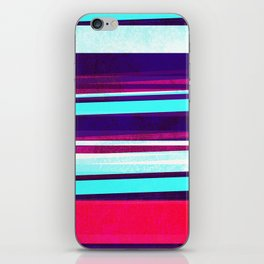teal & red strips  iPhone Skin