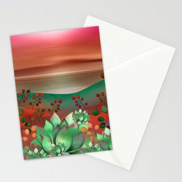 """Naif tropical colorful landscape"" Stationery Cards"
