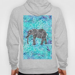 Mandala paisley boho elephant blue turquoise watercolor illustration Hoody